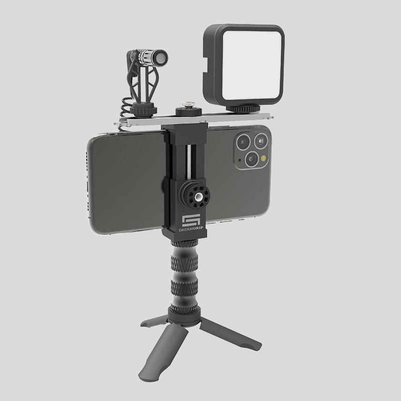 Mic and Another Photo//Video Accessories Universal Video Rig System for Vertical and Horizontal Shooting with Any Smartphone DREAMGRIP Scout XM with Patented Track Connector for External Lights